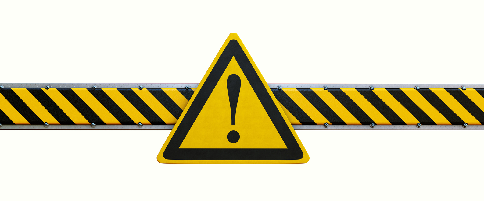 Frontal view on a simple security barrier with a warning exclamation sign, isolated on pure white background. The image is suited for further compositing and derivation.