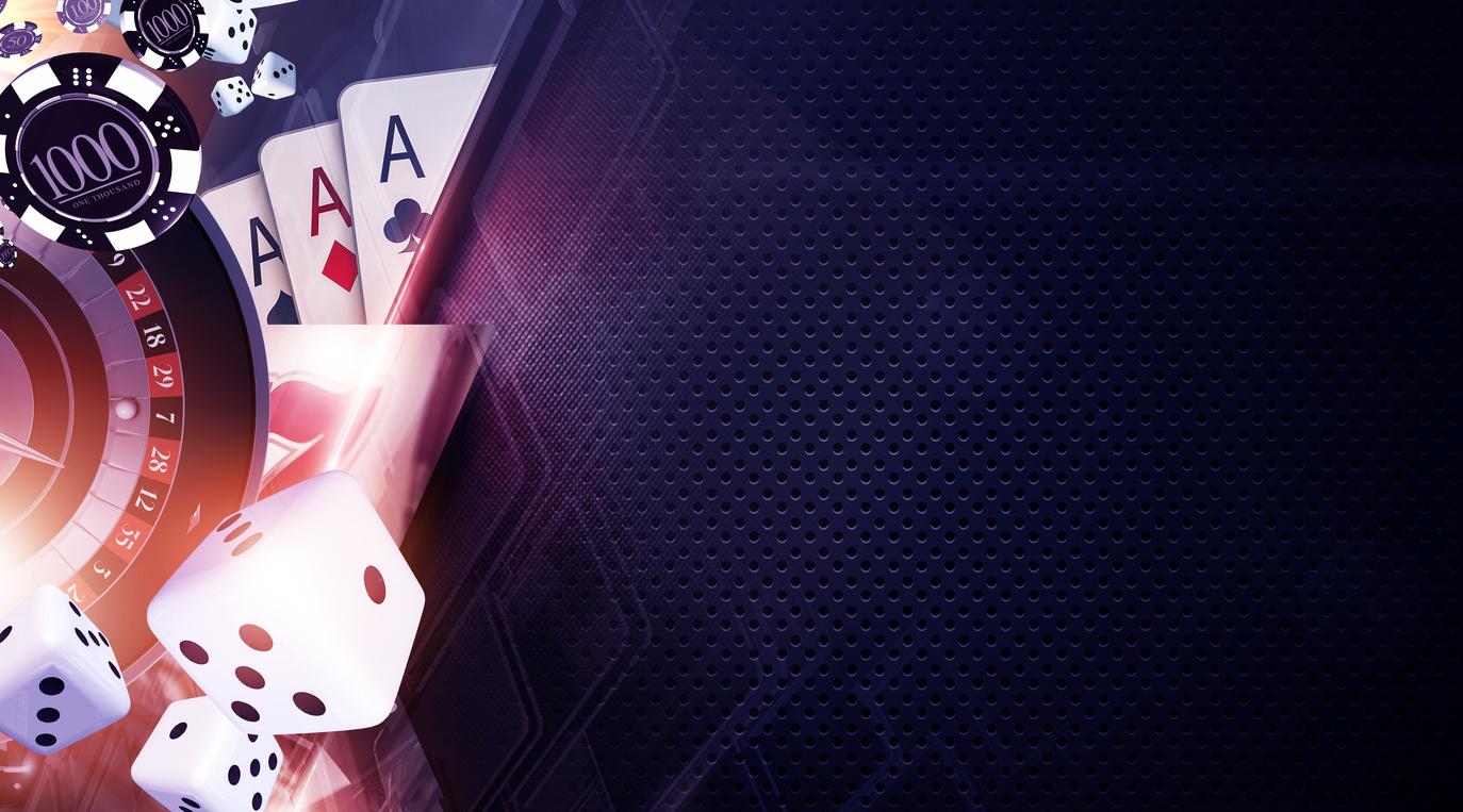 Vegas Games Background. Casino Gambling Banner Backdrop Concept