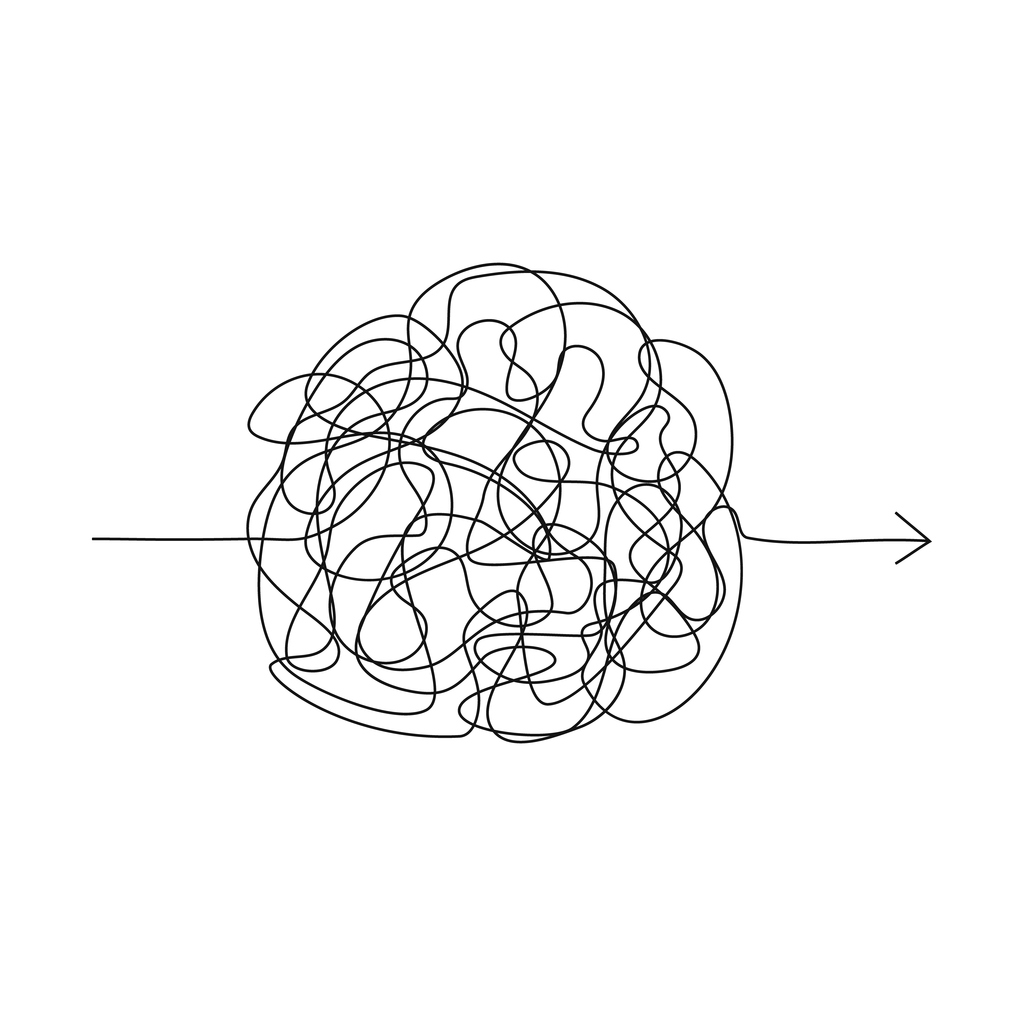 Vector symbol of complicated way with scribbled round element, chaos sign, pass the way linear arrow with clew or tangle…