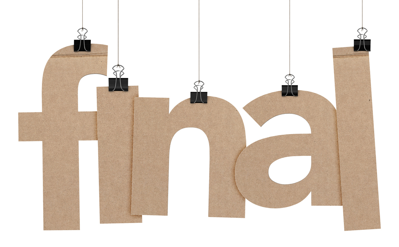 A 3D representation of the word final hanging on a plain white background. The word is hanging from binder paper…