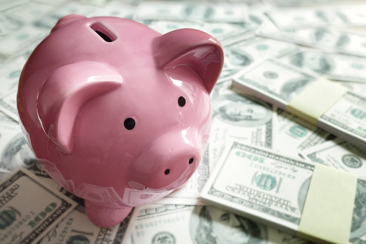 Piggy bank on money concept for business finance, investment and saving