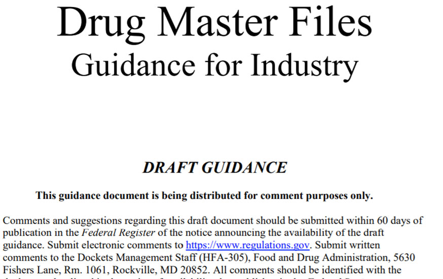Draft DMF Guidance Issued by FDA Image