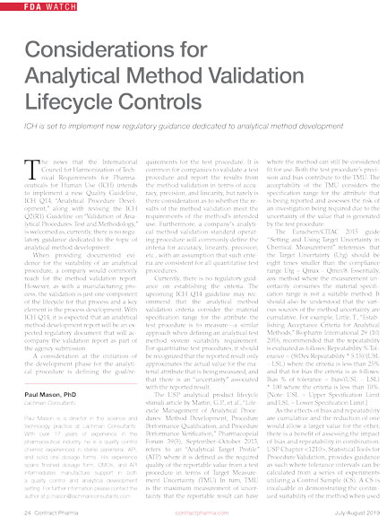 considerations-for-analytical-method-validation-lifecycyle-controls