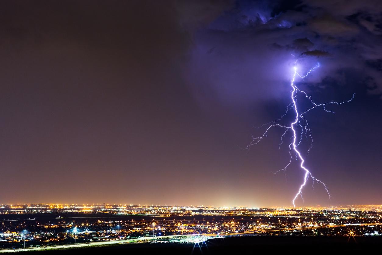 Lightning strike from a thunderstorm