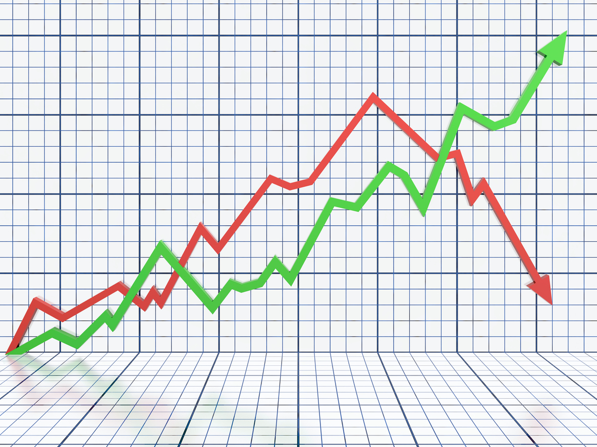 White business graph with red and green lines