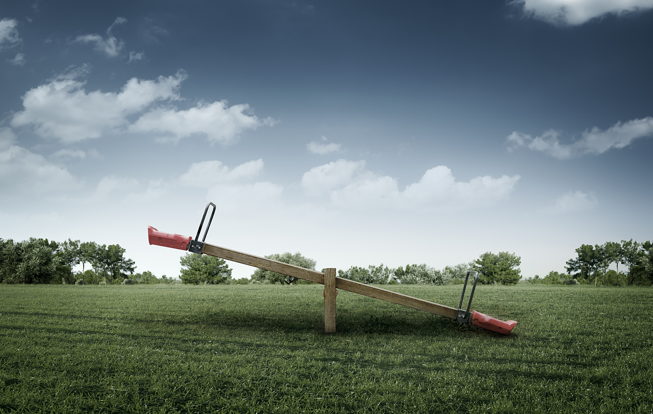 Seesaw on Grass